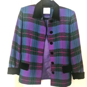 Vintage 100% Wool Doncaster Plaid Blazer 6P